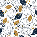 Graphic magnolia flowers,buds,leaves and jungle spots. Vector trendy seamless pattern in deep blue and mustard colors.