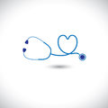 Graphic medical diagnostic tool stethoscope heart symbol illustration represents conceptually doctors care health heart equipment Stock Photos