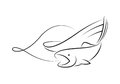 Graphic outline fishing boat, vector