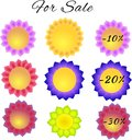 Graphic of paper flowers tags for spring discounts illustration isolated on a white background Stock Image