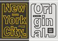 New york city with original typography design, vector image