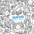 Graphic seafood, vector