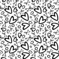 Graphic seamless pattern with cherry and heart romantic elements on white background..