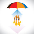 Graphic secure family people icons umbrella safeguard concept illustration contains symbols home residence parents children Stock Image