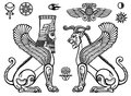 Graphic set: figures of the Assyrian mythology - a lion and a sphinx of people.