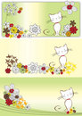 Graphic set with flowers and cat Royalty Free Stock Photo