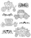 Graphic set with old carriages and vignette patterns isolated on white
