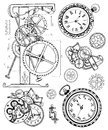 Graphic set with vintage clock mechanism in steampunk style