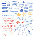 Graphic signs set of hand drawn correction elements crayon technique alphabet arrows underlines circles and stars isolated on Stock Photography
