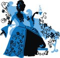Graphic silhouette of a rococo woman with cap coffee fashion luxury Royalty Free Stock Photography
