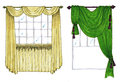 Graphic sketch drapery curtain design markers Stock Photo