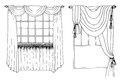 Graphic sketch drapery curtain on the white Royalty Free Stock Image