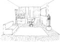 Graphic sketch an study room Stock Photography