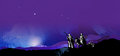 Graphic starry night journey to Bethlehem