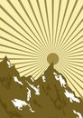 Graphic of sun over mountains Stock Image