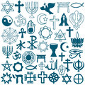 Graphic symbols of different religions on white blue as christinity islam judaism buddhism jainism sikhism or lamaism background Stock Photo