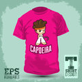 Graphic t shirt design capoeira character is a brazilian martial art silkscreen vector illustration Royalty Free Stock Image