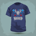 Graphic t shirt design rodeo bull and stars vector illustration print Royalty Free Stock Photography