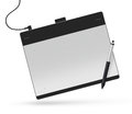 Graphic tablet with stylus illustration. Big picture of digitize Royalty Free Stock Photo