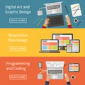 Graphic and web design programming digital art website developing coding freelance occupation flat vector concept Stock Image