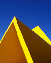 Graphical abstraction of sculpture the geometric known as the yellow peril located in melbourne australia Stock Image