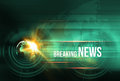 Graphical breaking news background with earth globe and lens fla
