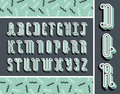 Graphical mint font with 3d effect shadow. Vector modern design