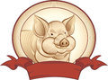 Graphical pig vector graphic representation of a piglet good choice for the label or trademark Stock Image