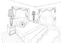 Graphical sketch of an interior apartment bedroom Royalty Free Stock Images