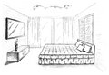 Graphical sketch of an interior bedroom Stock Images