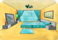 Graphical sketch of an interior bedroom water color Royalty Free Stock Photos