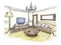 Graphical sketch of an interior living room Royalty Free Stock Photo