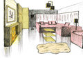Graphical sketch of an interior living room Royalty Free Stock Photography