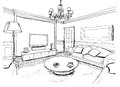 Graphical sketch of an interior living room liner Stock Images