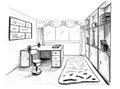 Graphical sketch private office grey Stock Photography