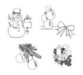 Graphical sketch set of christmas symbol Stock Image