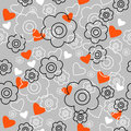 Graphically seamless pattern with flowers a Royalty Free Stock Photo
