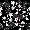 Graphically seamless pattern with flowers a Stock Photography