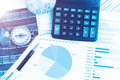 Graphs, charts, calculator, pen, compass on business table. The Royalty Free Stock Photo