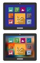 Graphs and charts on a tablet computer two different color variations of statistical isolated white Royalty Free Stock Image