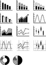 Graphs this is a set of different in b w Stock Photos