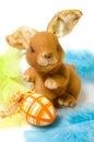 Grappig konijn met paasei Royalty-vrije Stock Foto's