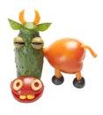 Grappige die koe van groenten wordt gemaakt Stock Foto