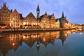 Graslei embankment at dusk in old town ghent gent belgium Royalty Free Stock Photo