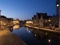 Graslei At Night In Ghent, Bel...