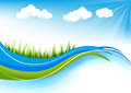 Grass background elegant spring or summer with and blue sky Stock Photography