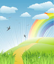 Grass, birds and rainbow landscape / vector Stock Photo