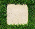 Grass border and stone slab background texture Stock Photography