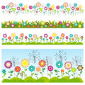 Grass and flowers set. Floral seamless patterns.