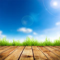 Grass fresh spring green with blue bokeh and sunlight and wood floor natural background Royalty Free Stock Photo